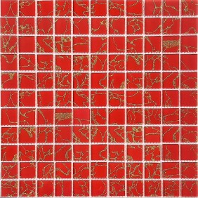 Glas Mosaik 4 mm Rot Gold Mix 2,5x2,5 cm