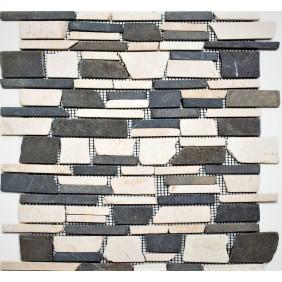 Naturstein Mosaik 8 mm Beige Schwarz  getrommelt