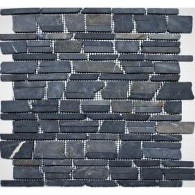 Naturstein Mosaik 8 mm schwarz getrommelt