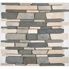Naturstein Mosaik 8 mm Schwarz Grau Beige getrommelt