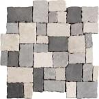 Naturstein Mosaik 8 mm Schwarz Grau Beige Mix Römischer Verband getrommelt