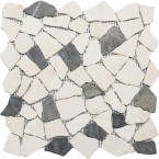 Naturstein Bruchmosaik Grau Beige Mix auf Netz geklebt