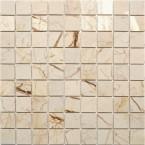Naturstein Mosaik Sandbeige Beige Cream 3,2x3,2 cm  poliert auf Netz