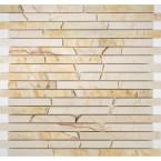 Naturstein Mosaik Sandbeige Beige Cream poliert Linie Brick auf Netz