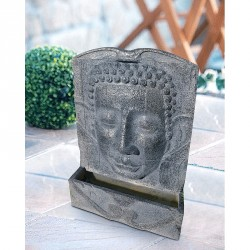 "Heissner Polystone Terrassenbrunnen-Set ""Buddha-Fountain grey LED"""