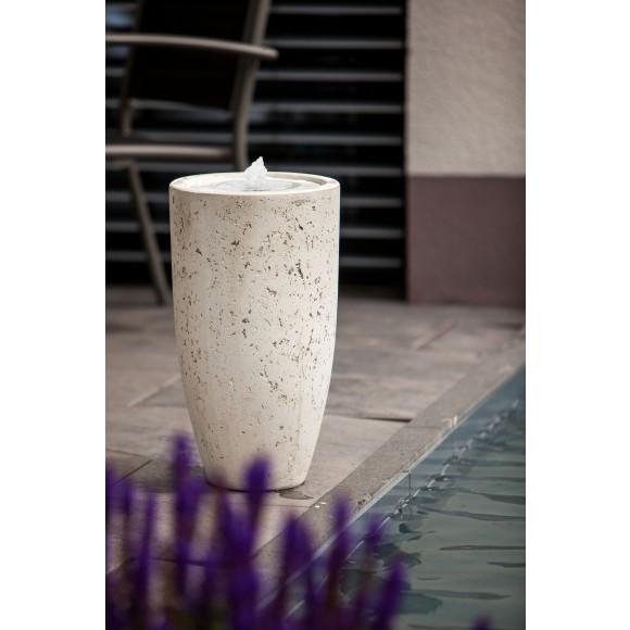 Vase white LED mit Wassergeplätscher