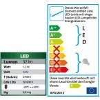 Heissner Wasserfall-Element Edelstahl 30 cm mit LED Energielabel