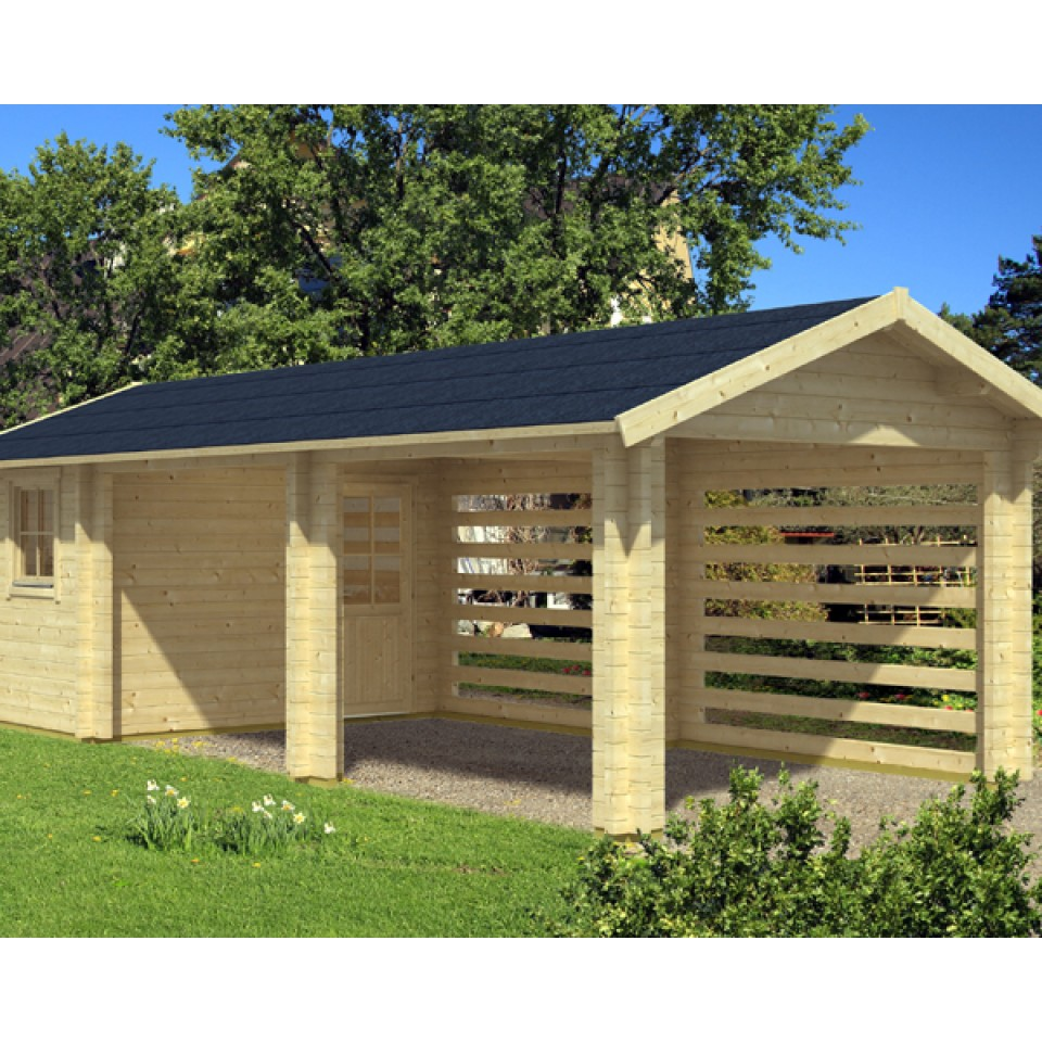 skan holz 70 mm gartenhaus carport stockholm mein. Black Bedroom Furniture Sets. Home Design Ideas