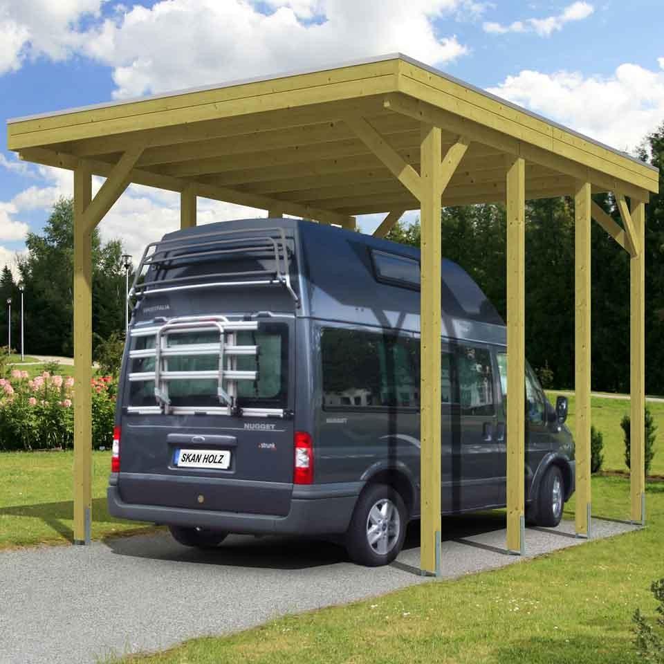 Carport Wandanbau: Skan Holz Caravan-Carport Friesland 397x555 Cm Mit