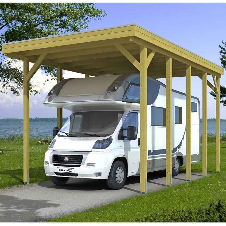 Carport Wandanbau: Skan Holz Caravan-Carport Friesland 397x708 Cm Mit