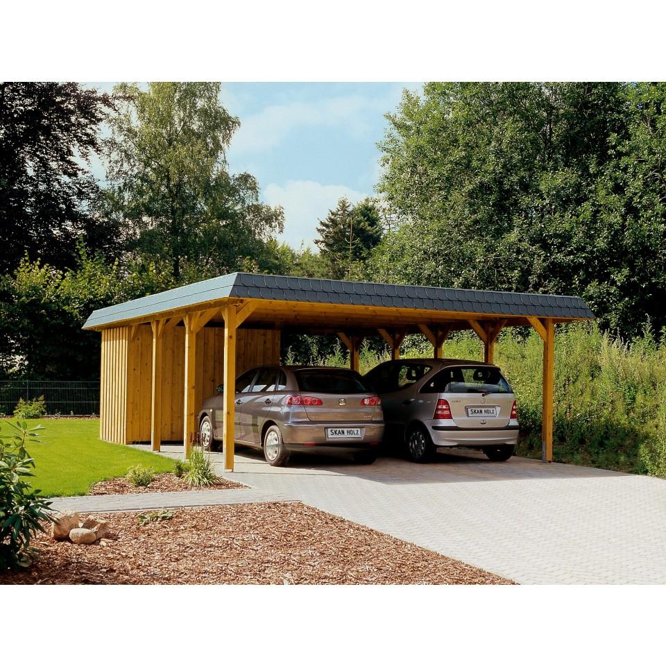 Carport Wandanbau: Skan Holz Walmdach Doppel Carport