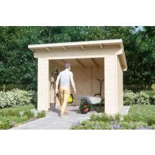 Skan Holz Gerätehaus Ole mit offenem Arbeitsbereich - 28 mm