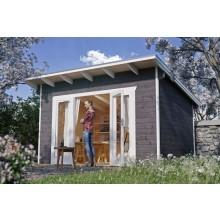 Skan Holz 28 mm Gartenhaus Ostende 1 inkl. gratis Fundamentanker/Pads