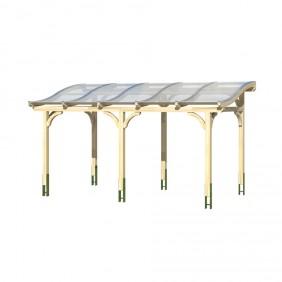 Skan Holz Terrassenüberdachung Tivoli mit geschwungenen Sparren Breite 434 cm