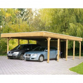 Skan Holz Carport Friesland 557x708 cm inkl. Abstellraum Sparset imprägniert