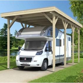 Skan Holz Caravan-Carport Konfi 400x800 cm mit erhöhter Einfahrt