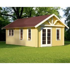 """Skan Holz 70 mm Blockbohlenhaus Toronto (4) Farbbeispiel """"gelb / weiß"""" (bauseitiger Anstrich)"""