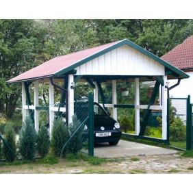 Skanholz Schwarzwald - Satteldach Einzelcarport aus Massivholz Breite 424 cm