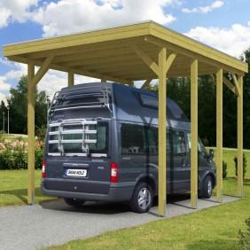 Skan Holz Caravan-Carport Friesland 397x555 cm mit erhöhter Einfahrt