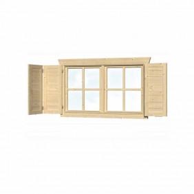 Skan Holz Fensterläden für Blockbohlenhäuser Doppelfenster