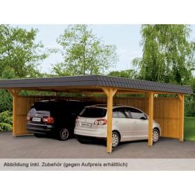 Skan Holz Wendland - Walmdach Doppelcarport aus Leimholz Breite 630 cm