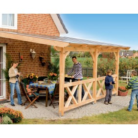 Skan Holz Terrassenüberdachung Douglasie mit Mittelpfosten Breite 434 cm