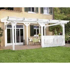 Skan Holz freistehende Terrassenüberdachungen mit Mittelpfosten Breite 434 cm (Abb. inkl. Brüstung Balkonschalung - gegen Aufpreis erhältlich)