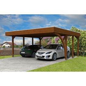 Skan Holz Carport Friesland 557x555 cm inkl. Rück- und Seitenwände Sparset