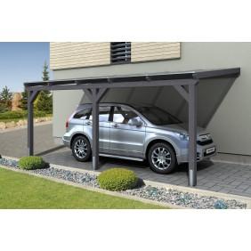 Skan Holz Caravan-Carport Emsland 404x604 cm mit erhöhter Einfahrt schiefergrau