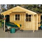 Skan Holz 28 mm Blockbohlenhaus Como mit Vordachverlängerung