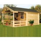 Skan Holz 28 mm Blockbohlenhaus Como mit Vordachverlängerung und Terrasse