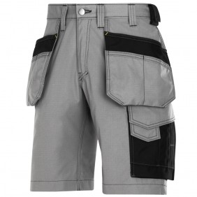 Snickers 3023 Rip-Stop Handwerker Shorts mit Holstertaschen, Grau