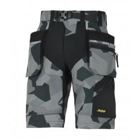 Snickers Workwear 6904 FlexiWork Arbeitsshorts+ - Anthrazit Camouflage/Schwarz (8704)