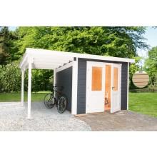 Wolff Finnhaus Gartenhaus Pulti Softline 3024 - 28 mm inkl. gratis Fundamentanker/Pads