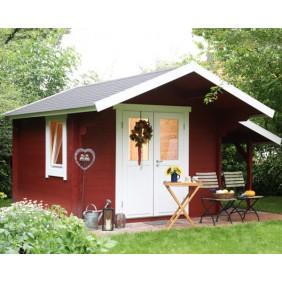 Wolff Finnhaus Blockbohlenhaus Mona 34-B - Abb. inkl. Schleppdach und Fenster - gegen Aufpreis erhältlich