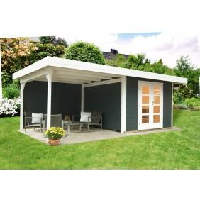 Wolff Finnhaus Gartenhaus Relax Lounge C mit 300 cm Anbau