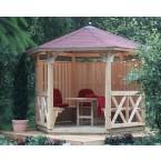 Wolff Finnhaus Pavillon Kreta Grundbauset (Abb. inkl. Wandelemente, Bänke, Tisch, Dachschindeln, Haube - optional erhältlich)