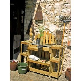 T&J MANFRED Gartenwerkbank B 120 x T 40 x H 120 cm mit Geräteständer