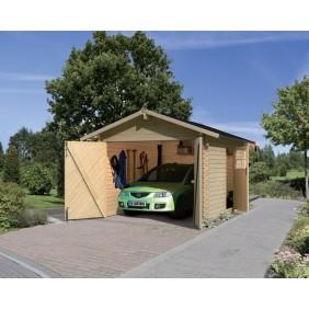 Karibu Garage Blockhausgarage 28 mm natur (Abb. inkl. Zubehör: Dachschindeln)