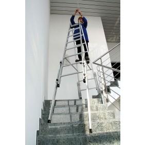 Aluminium-Stehleiter treppengängig mit 4 ausschiebbaren Holmen
