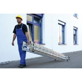 Günzburger Aluminium-Stehleiter 4-teilig mit `roll-bar`-Traverse