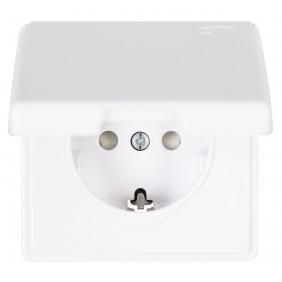 Kopp Schutzkontakt-Steckdose mit Klappdeckel VISION arktis-weiß