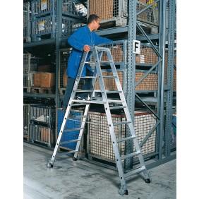 Günzburger Aluminium-Stehleiter beidseitig begehbar mit Rollen