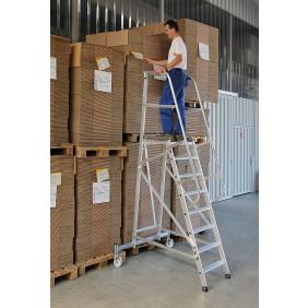 Günzburger Aluminium-Plattformleiter einseitig begehbar, fahrbar