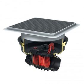 KESSEL - Rückstaudoppelverschluss für Einbau in die Bodenplatte - schwarze Abdeckung mit Rattenschutz