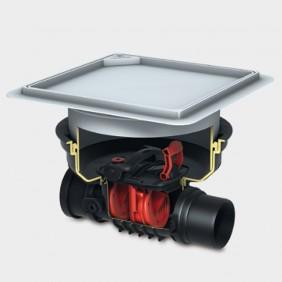 KESSEL - Rückstaudoppelverschluss für Einbau in die Bodenplatte - befliesbare Abdeckung mit Rattenschutz