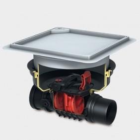 KESSEL - Staufix Control Rückstaudoppelverschluss für Einbau in die Bodenplatte - schwarze Abdeckung