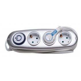 Kopp 3-fach Steckdosenleise mit Flachstecker + Überspannungsschutz, silber