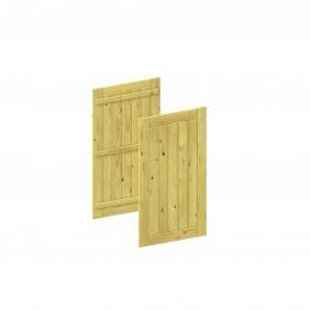 Die BINTO Erweiterungsverkleidung umfasst Türe und Rückwand aus kesselderuckimprägnierten Fichtenholz.