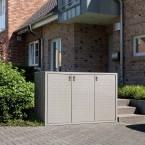 Paul Wolff Mülltonnenbox SILENT 123 Stein-Außenfläche: Perlgrau Stahl: Seidengrau
